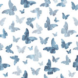 Seamless watercolor gray butterflies pattern Royalty Free Stock Images