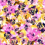Seamless pattern of watercolor pink roses and leaves. Seamless watercolor hand drawn pattern of briht pinc roses and leaves Royalty Free Stock Photos