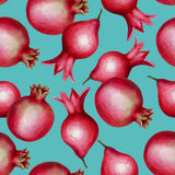 Seamless watercolor hand drawn pomegranate pattern Stock Image