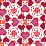 Seamless watercolor heart pattern on paper texture Royalty Free Stock Photography