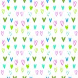 Seamless watercolor heart pattern on a white backdrop. Valentines day background. Royalty Free Stock Image