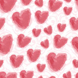 Seamless watercolor hearts background. Seamless cute watercolor dots background Royalty Free Stock Photos