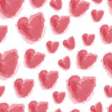 Seamless watercolor hearts background Stock Photo