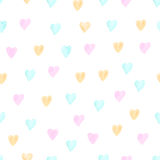 Seamless  watercolor hearts pattern. Seamless colorful watercolor painted hearts pattern on white background Royalty Free Stock Images