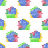 Seamless of Watercolor Houses Royalty Free Stock Image