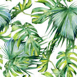 Seamless watercolor illustration of tropical leaves