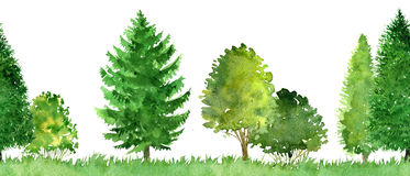 Seamless watercolor landscape with trees Stock Photos