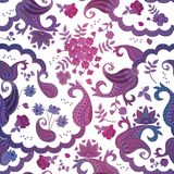Seamless watercolor oriental pattern with paisley and beautiful flowers. On white background Stock Photo