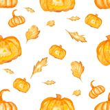 Seamless watercolor paint background of Halloween. Pumpkin and dried leaf. In warm color tone. Symbolic of Halloween festival royalty free illustration