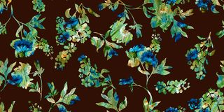 Seamless watercolor painted floral pattern royalty free illustration