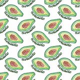 Seamless watercolor pattern with avocado on the Stock Photo