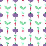 Seamless watercolor pattern with beetroot and Stock Photo