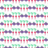 Seamless watercolor pattern with beetroot and Royalty Free Stock Photography