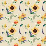 Seamless watercolor pattern on beige background. Sunflowers, leaves and wild herbs vector illustration