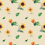 Seamless watercolor pattern on beige background. Sunflowers, leaves and wild herbs. Template for T-shirt, decor stock illustration