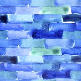 Seamless watercolor pattern with blue bricks and lines. For textile, wrapping, craft Stock Images