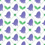 Seamless watercolor pattern with bluebells on the Stock Image