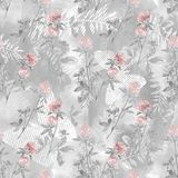 Seamless watercolor pattern with branches and flowers of clover on a light gray background. Colorful background stock illustration