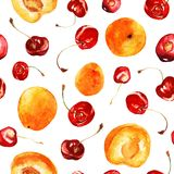 Seamless watercolor pattern with bright red cherries and juicy apricots. Seamless hand drwan watercolor pattern with red rich juicy bright cherries and apricots Stock Image