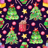Seamless watercolor pattern. Christmas elements stock illustration
