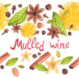 Seamless watercolor pattern with cinamon, ginger Stock Photography