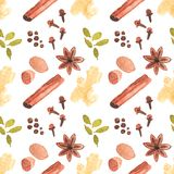 Seamless watercolor pattern with cinamon, ginger. Cloves,allspice,cardamom  on the white background, aquarelle.  Vector illustration. Hand-drawn background Royalty Free Stock Photo