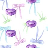 Seamless watercolor pattern with colored bow, tags, gift box, violet heart. stock illustration