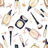 Seamless watercolor pattern with colored foundation bottles. Hand drawn cosmetics background, beauty items on the white background. Fashion glamour pattern Royalty Free Stock Photo