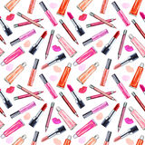 Seamless watercolor pattern with colored lipstick and gloss lip. Royalty Free Stock Photo