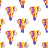 Seamless watercolor pattern of colorful elephant in different rainbow colors. Neon mammals repeated in white background vector illustration