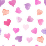 Seamless watercolor pattern with colorful hearts - pink, purple, blue tints. Seamless watercolor pattern with colorful hearts. Light and soft tints of pink, red stock illustration
