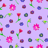 Seamless watercolor pattern. Colourful eggs and flowerson purplebackground. Bright hand drawn illustration. Royalty Free Stock Photos