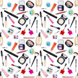 Seamless watercolor pattern with cosmetic, beauty items Stock Photography