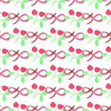 Seamless watercolor pattern with cranberries on Stock Images