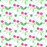 Seamless watercolor pattern with cranberries on Royalty Free Stock Image