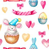 Seamless watercolor pattern cute animals mouse rabbit chicken, festive bow elements, ribbon, heart Hand painted Easter birthday. Seamless watercolor pattern cute vector illustration