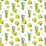 Seamless watercolor pattern with a drink, cocktail with lemon, ice, mojito, smoothies. Fruit lemon, mint leaf. Vintage. Drawing on white royalty free stock photo