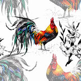 Seamless watercolor pattern with farm roosters silhouettes and flowers Stock Photography