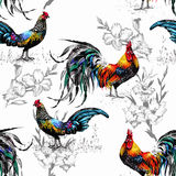 Seamless watercolor pattern with farm roosters silhouettes and flowers Royalty Free Stock Images