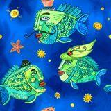 Seamless watercolor pattern with fishes Royalty Free Stock Photography