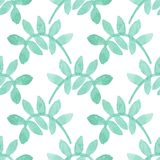 Seamless watercolor pattern with floral elements royalty free stock photo
