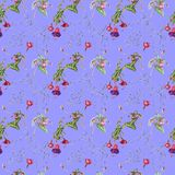 Watercolor seamless pattern of twigs, flowers and fuchsia fruits stock illustration