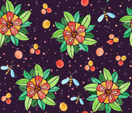 Seamless watercolor pattern with flowers Royalty Free Stock Image