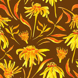 Seamless watercolor pattern with flowers Stock Photography