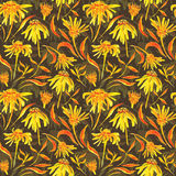 Seamless watercolor pattern with flowers. Background with yellow and orange flowers and leaves for design Stock Photography