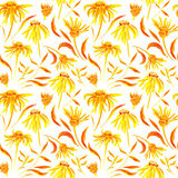 Seamless watercolor pattern with flowers. Background with yellow and orange flowers and leaves for design Stock Photos