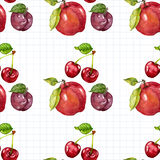 Seamless watercolor pattern with fruits Stock Photos
