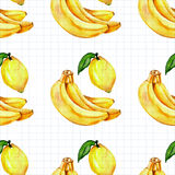Seamless watercolor pattern with fruits Royalty Free Stock Photo