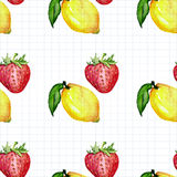 Seamless watercolor pattern with fruits Royalty Free Stock Images