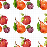 Seamless watercolor pattern with fruits Stock Photo